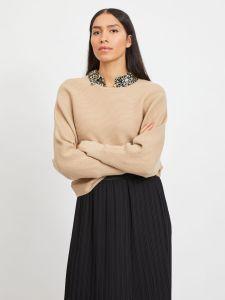 vila-naisten-neulepaita-elasta-knit-beige-1