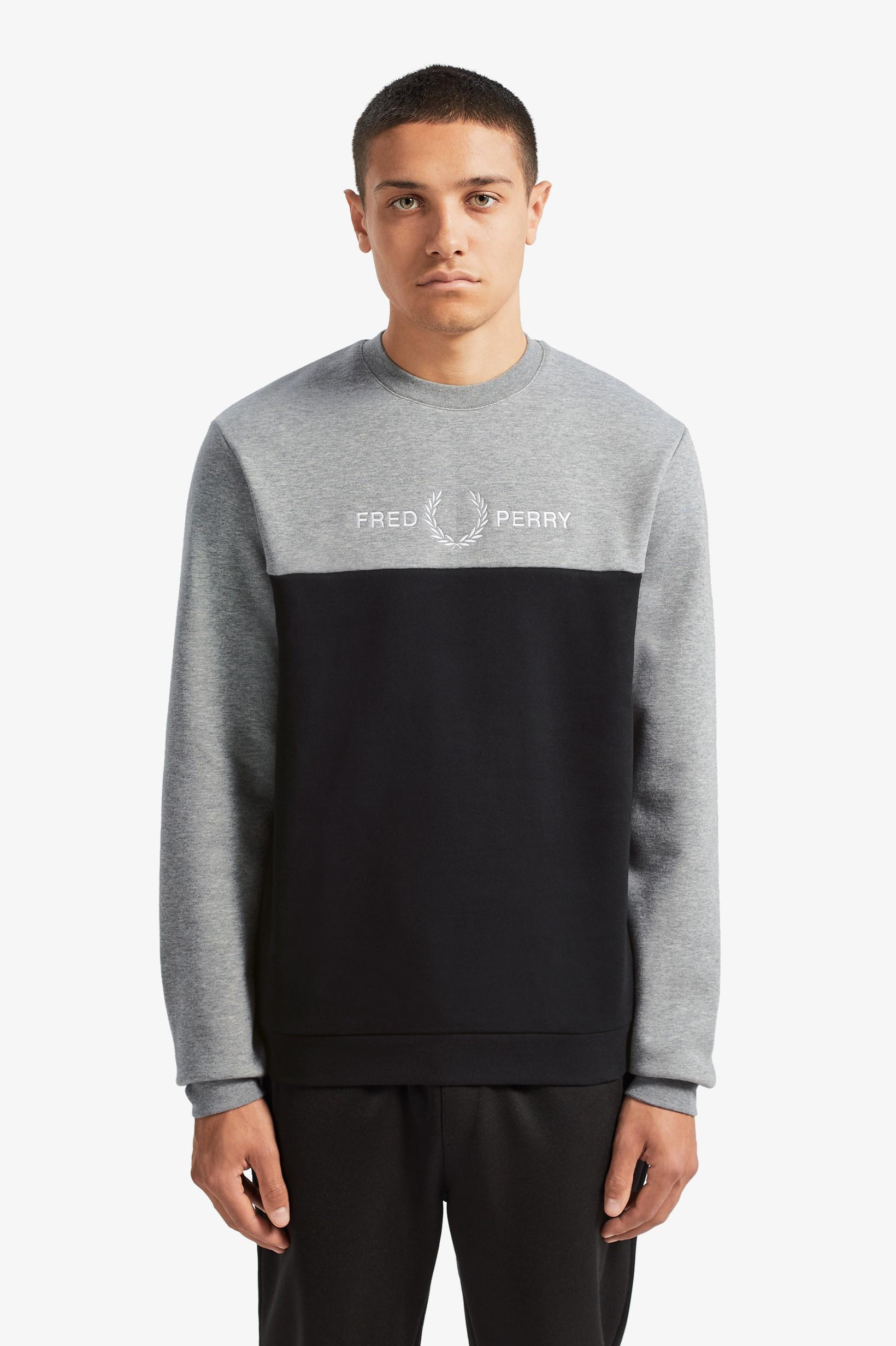Fred Perry Miesten Collegepusero, Block Graphic Sweatshirt Keskiharmaa