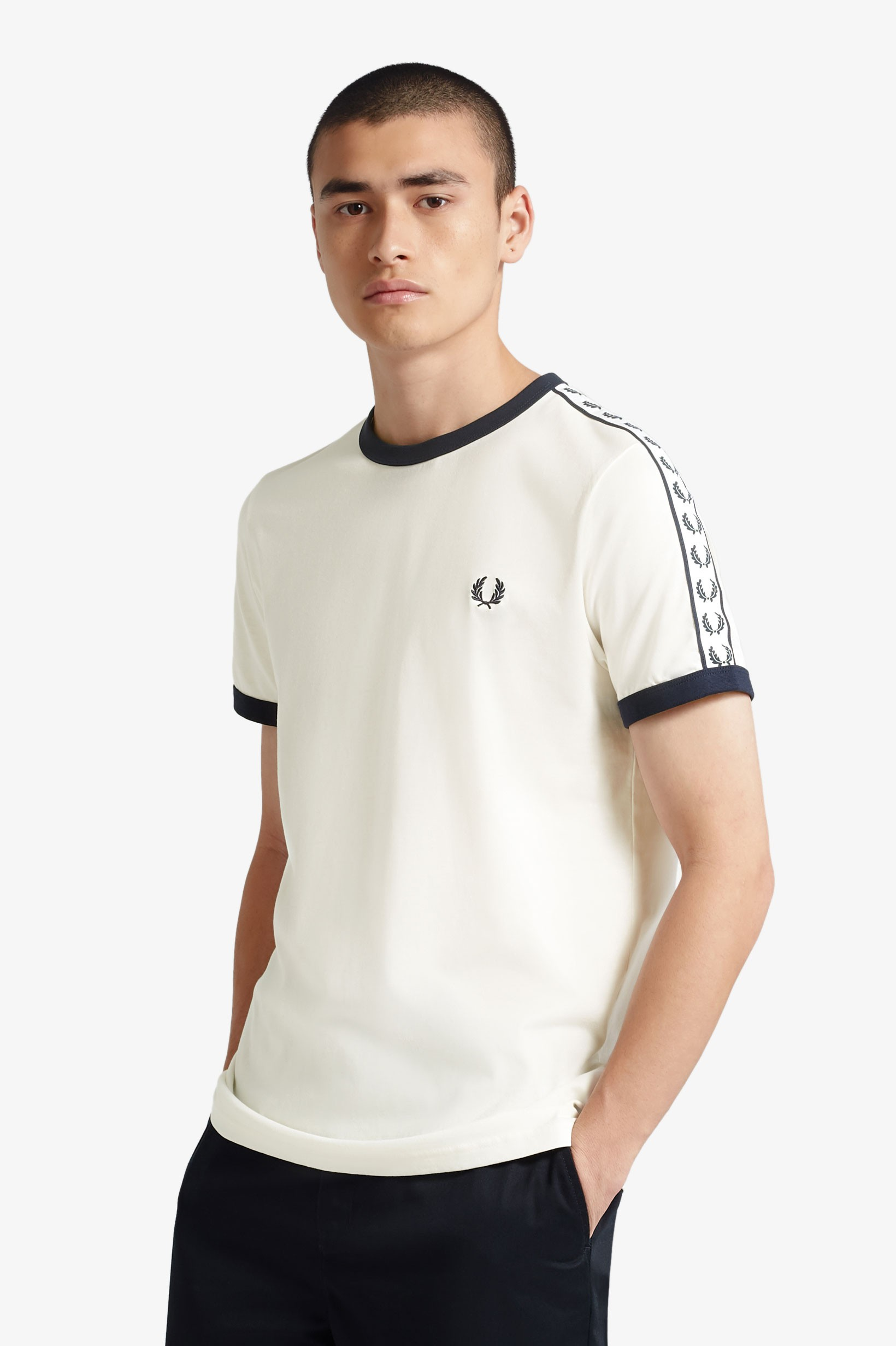 Fred Perry Miesten T-paita, Taped Ring Valkoinen