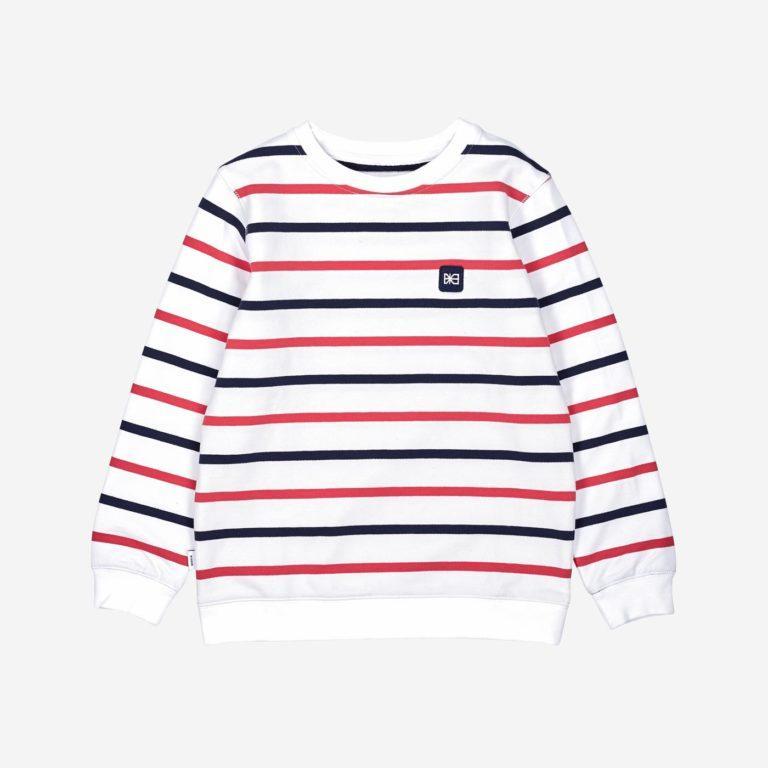 Makia Kids Collegepusero, Bowie Sweat Shirt Raidallinen Valkoinen