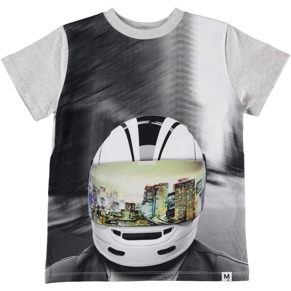 Molo Kids Lasten T-paita, Road MC Helmet Vaaleanharmaa