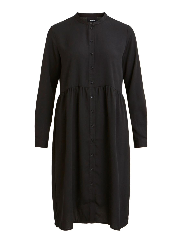 Object mekko, OBJMOLLY LS SHIRT DRESS, Mekko Musta