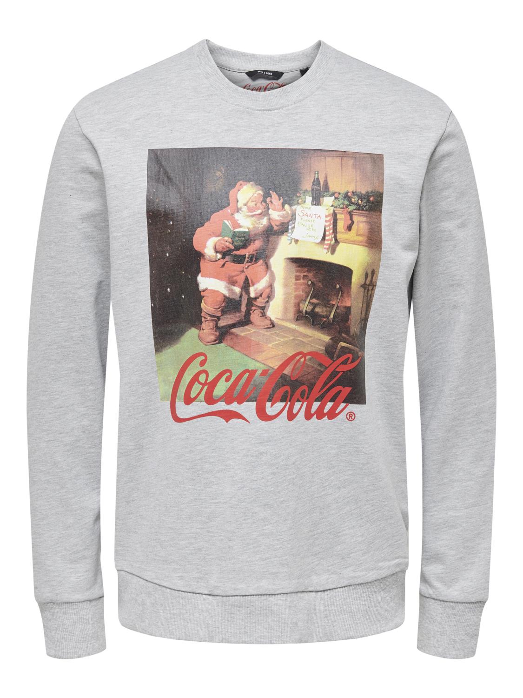 Only and Sons Miesten Collegepusero, Coca Cola Xmas Regular Sweat Keskiharmaa