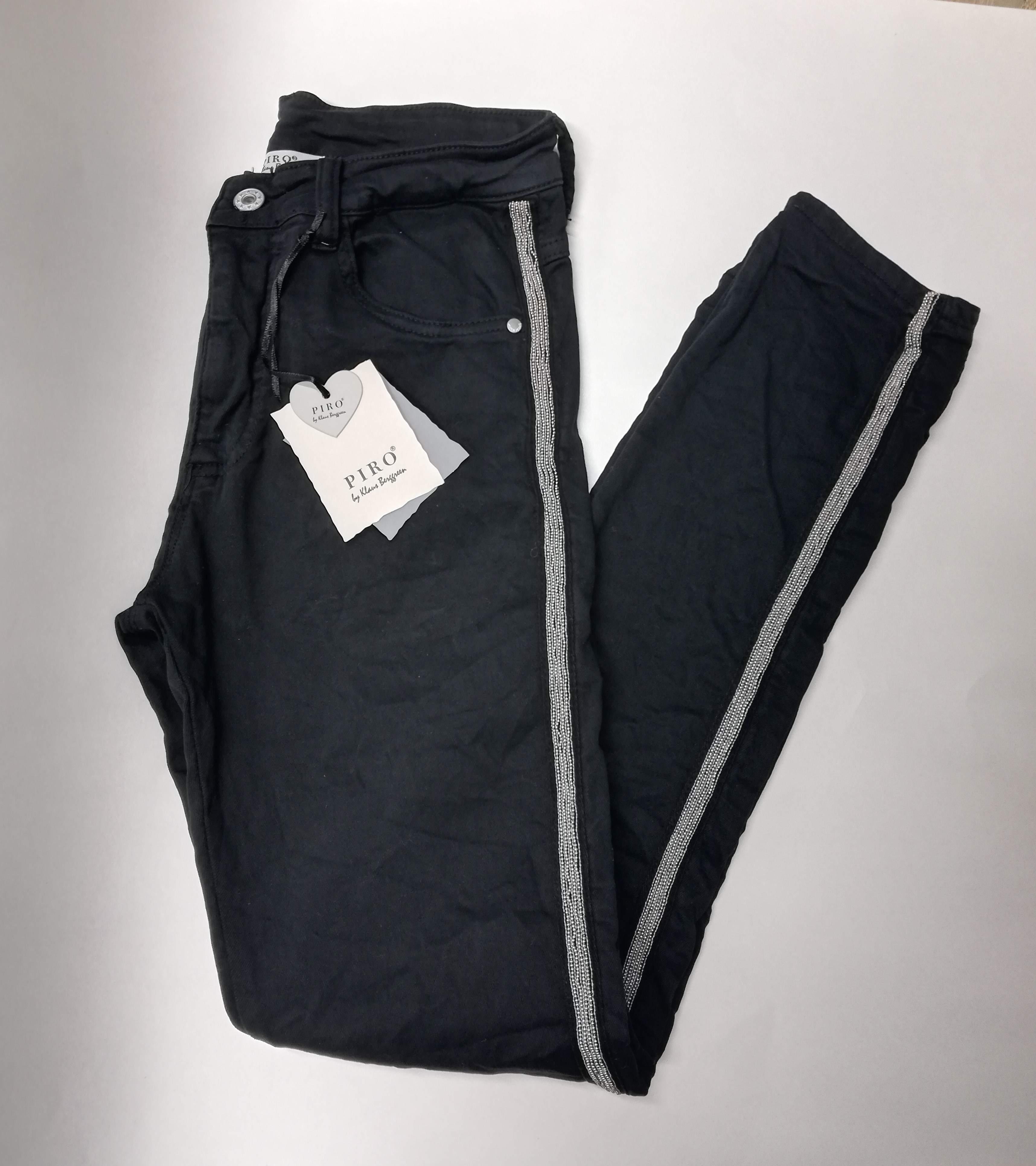 Piro Jeans Naisten Farkut, Silver Stripe Musta