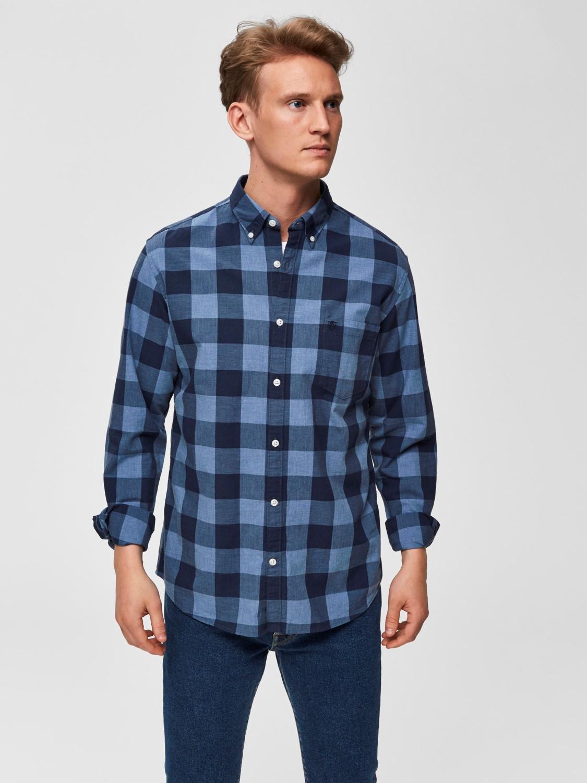 Reg Collect Shirt, Selected Homme, Puuvillapaita Sininen Ruutu