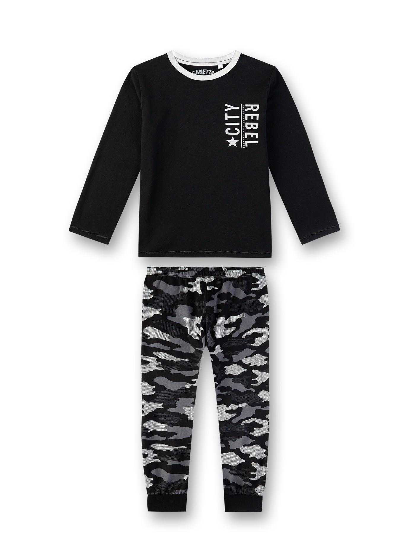 Sanetta Lasten Pyjama, Camo Musta Kuosi
