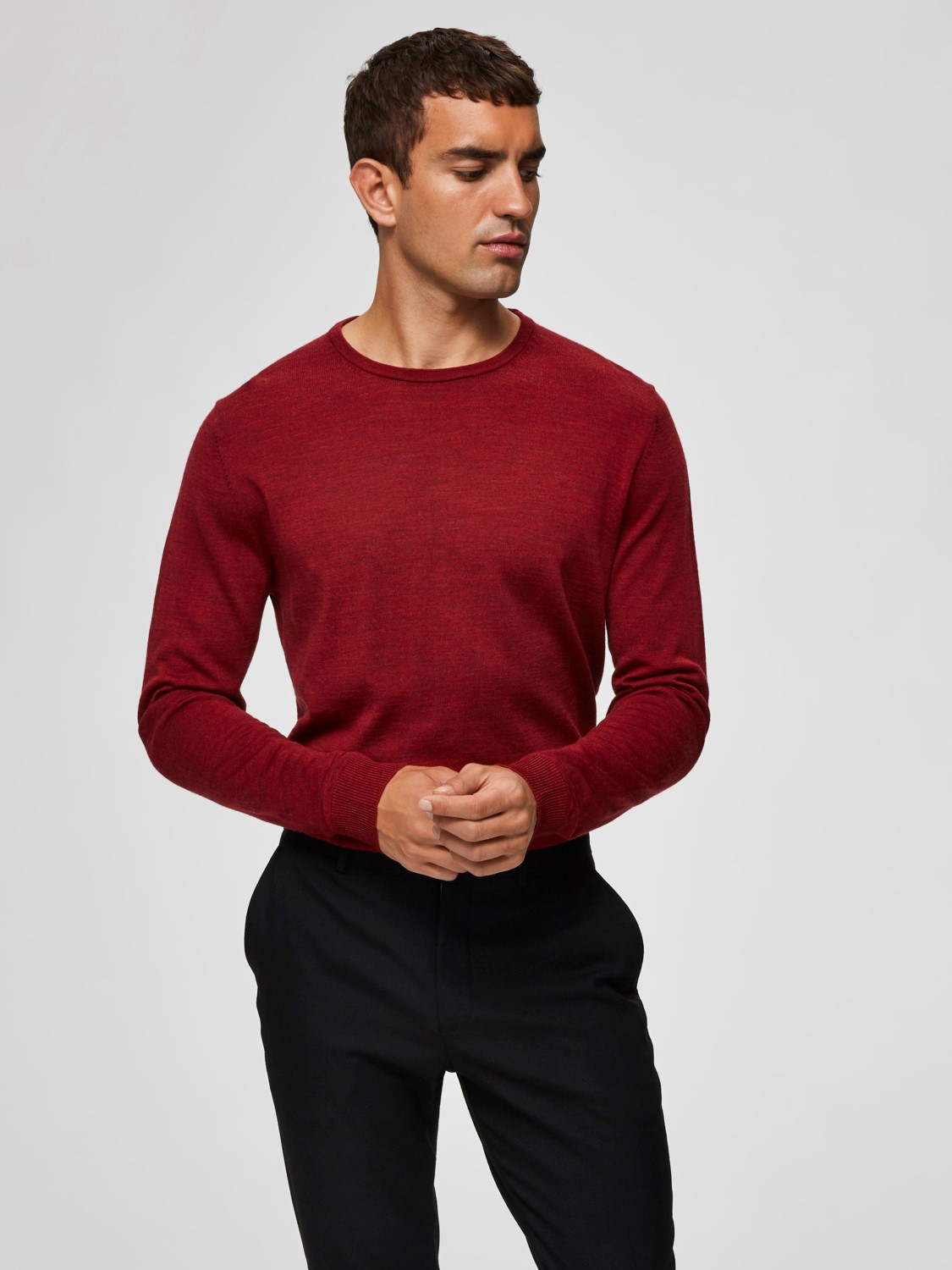 Selected Merinovillaneule, Tower Merino Crew Neck Kirkkaanpunainen