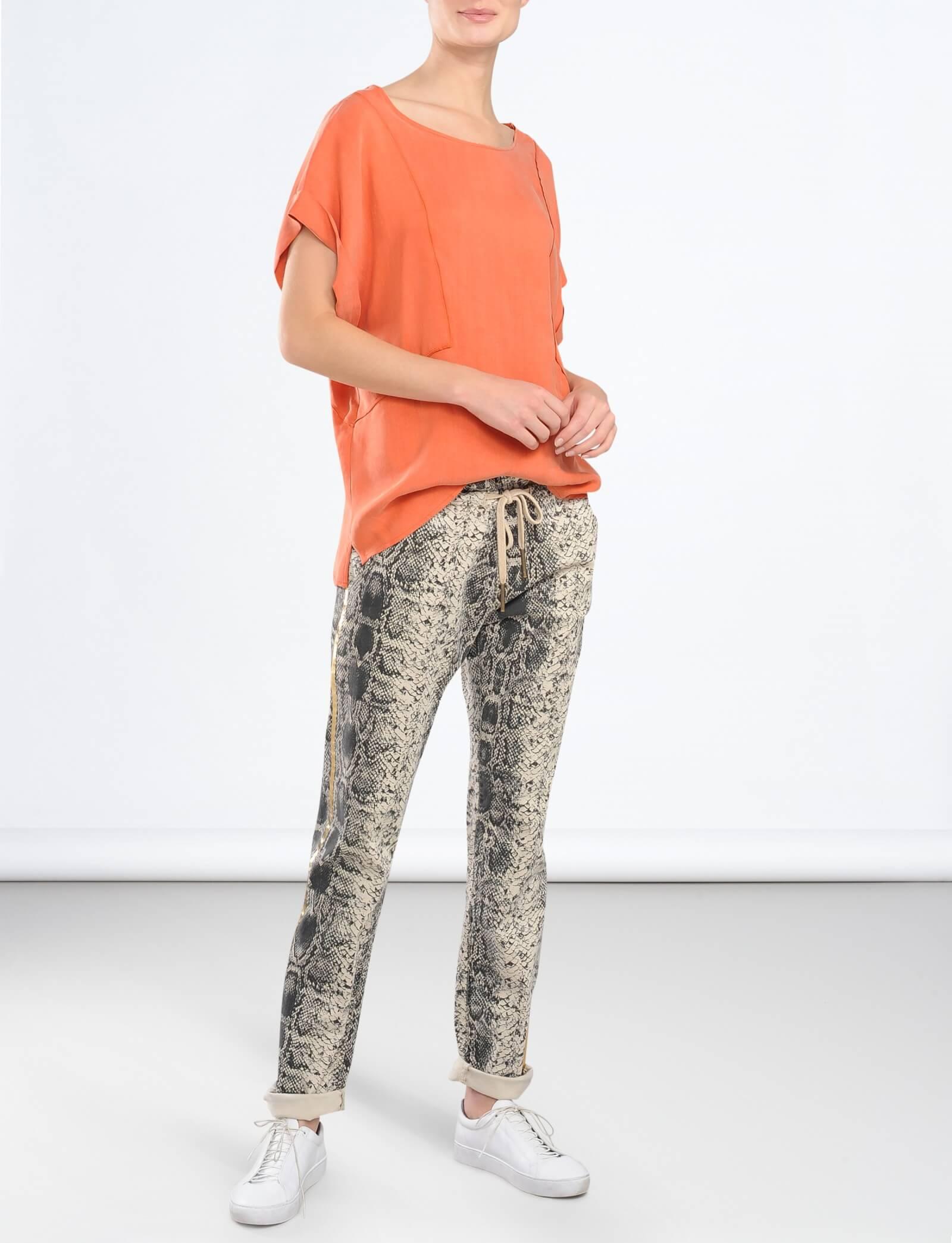 Summum Naisten Housut, Snakeskin print trousers Beige Kuosi