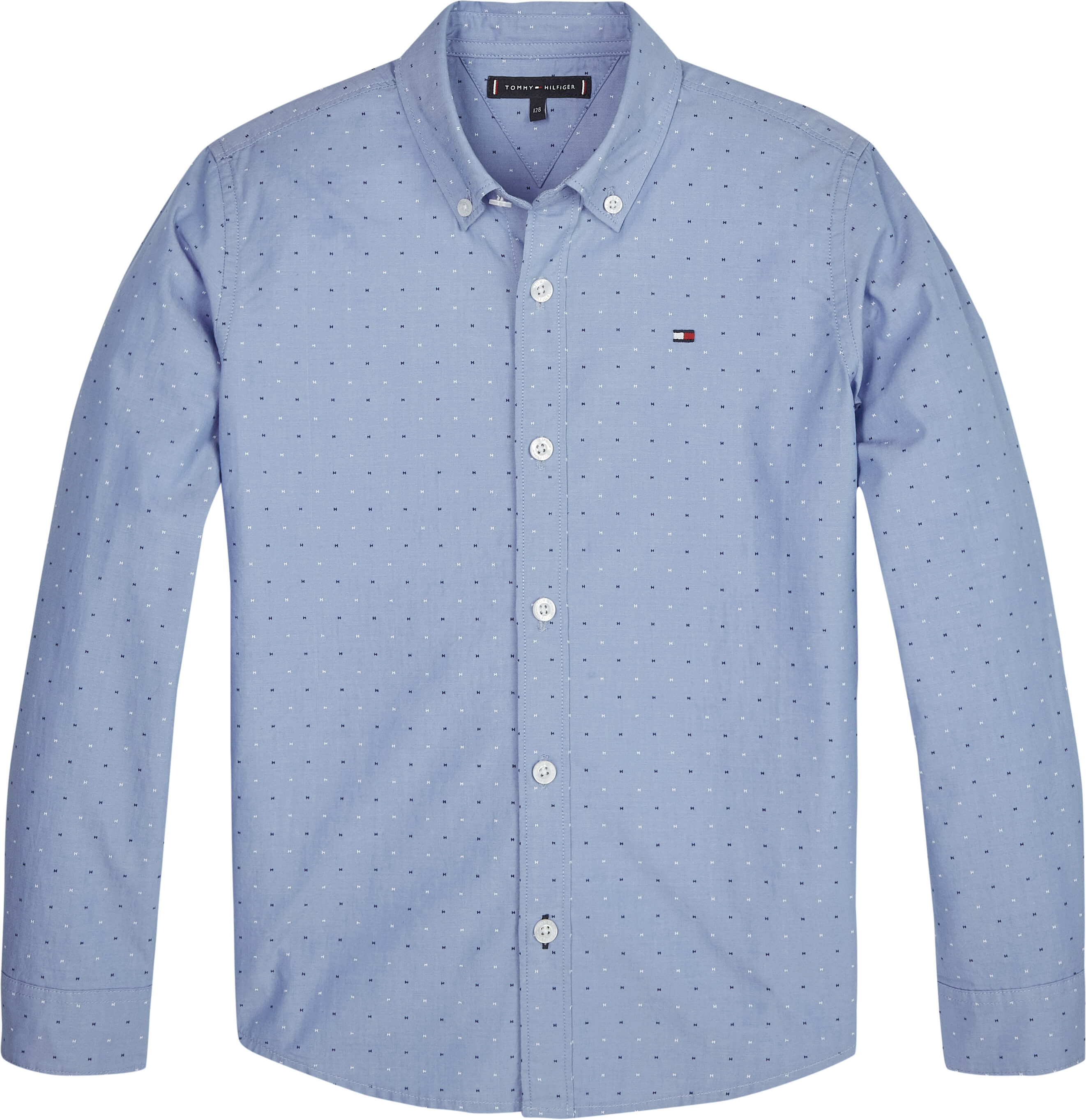 Tommy Hilfiger Childrenswear Kauluspaita, Mini Print Ls Vaaleansininen