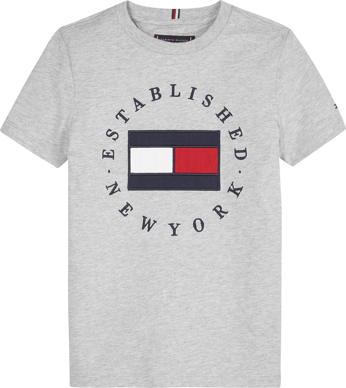 Tommy Hilfiger Childrenswear T-paita, TH Flag Tee Ss Vaaleanharmaa