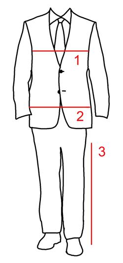 Kokotaulukko miesten puvut